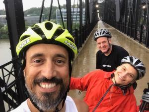 Rollerskiers on the Hot Metal Bridge